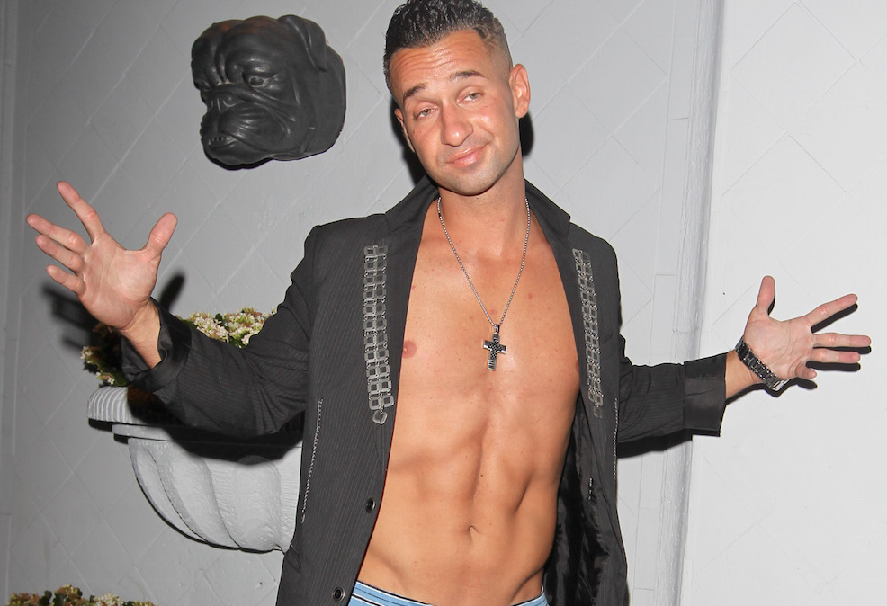 "August 9, 2011: Mike Sorrentino, aka ""The Situation"" from MTV's Jersey Shore, flashes his famous abs outside of his hotel after spending a night out on the town in West Hollywood, California. Credit: INFphoto.com Ref: infusla-217"